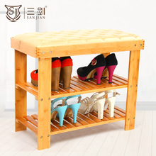 Factory Direct Supply Living Room Furniture High Quality Leather Covered Bamboo Shoes Storage Bench