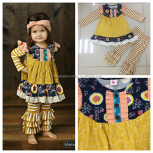 china newest fall and winter yellow stripe clothingse sets wholesale brand children clothes