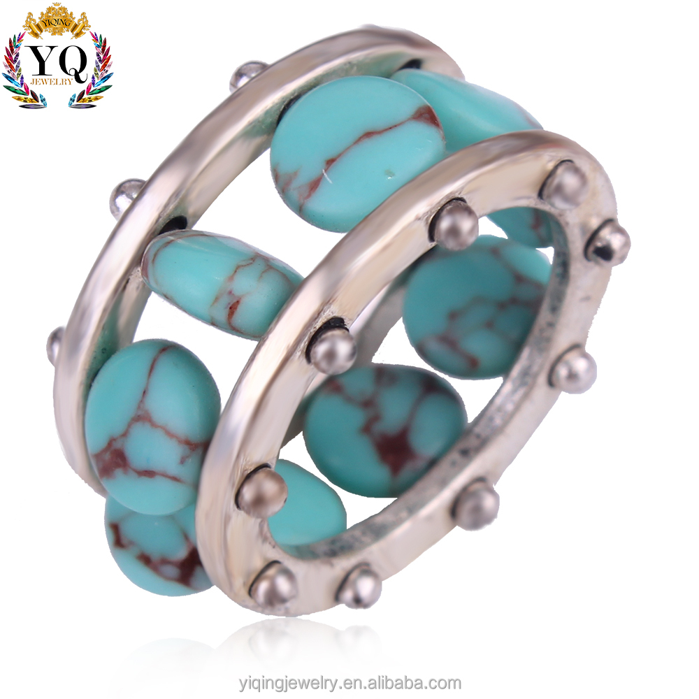 RYQ-00336 New arrival wholesale natural jewelry ring men silver turquoise ring