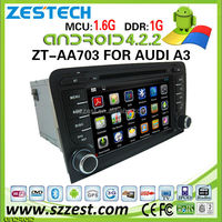 Double din pure Android 4.4.4 car dvd player for Audi A3 S3 car autoradio wholesale supporting BT, USB, fm, am, 3G