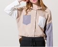 Fashion women long sleeve corduroy constrast color blouse, corduroy blouse for lady