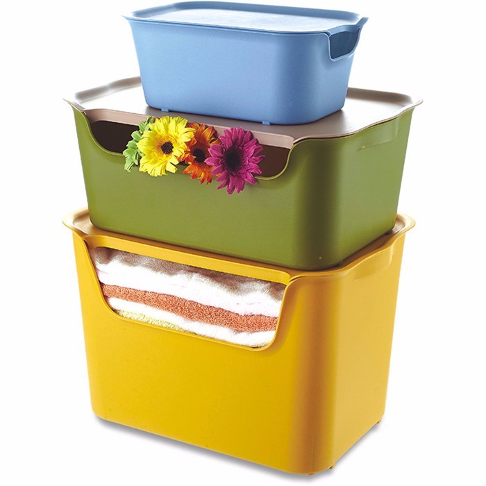 PP colorful clothing storage box,plastic stackable storage box with lid