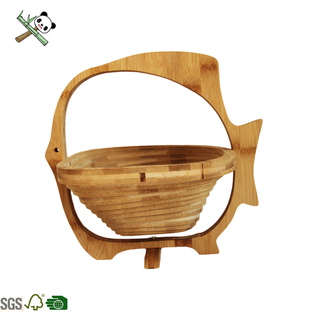 fish Shape Rotatable Bamboo Folding Fruit Basket Top Selling Food Grade Cheap Price