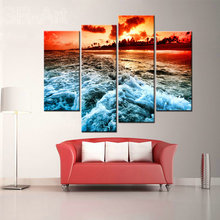 Modern Landscape Canvas Print Painting,Beach Sunset Art Decoration Wall Art Ocean Waves Oil Painting Print