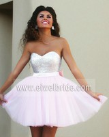 Sexy pink tulle mini sweetheart sequin evening dress