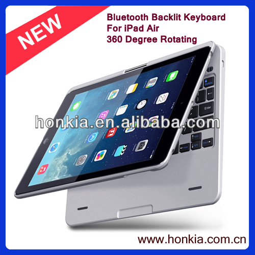 Newest 360 degree Rotating Wireless Bluetooth Keyboard Case for iPad Air, Built-in Backlight