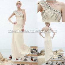 New Style Rhinestone Neckline One Shoulder Zipper Closure Brush Train Prom Dresses Evening Gowns