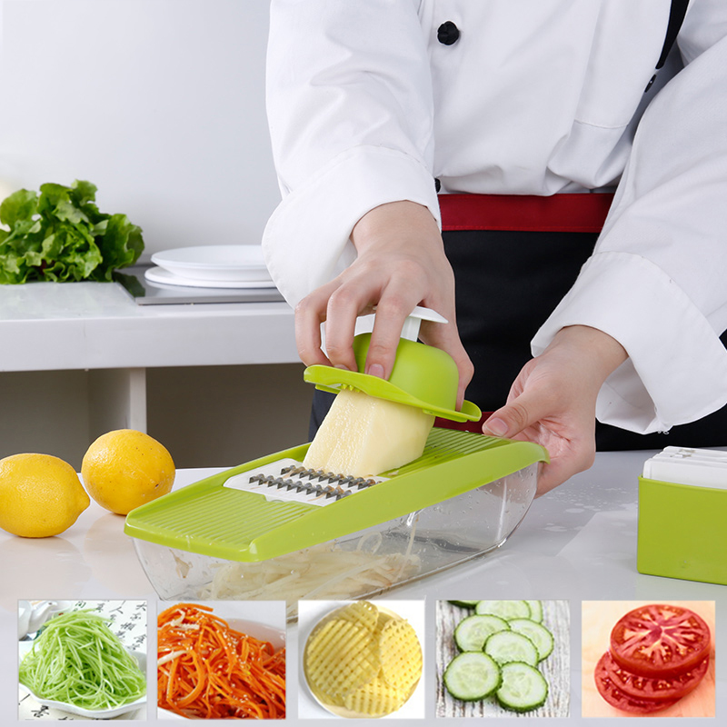 5 In 1 Multifunctional Plastic Kitchenware Grater Container Manual Vegetable Fruit Mandoline Slicer