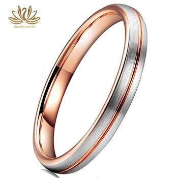 Womens Tungsten Wedding Bands SuperSleek 2mm Brushed Matt Finish Tungsten Ring Central Grooved Comfort Fit