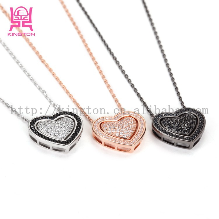 925 sterling silver micro pave diamond heart pendant necklace
