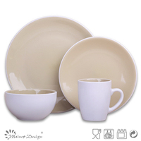Round coupe white and light blue two tone color stoneware dinner set