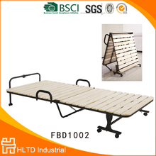 wholesale portable wooden single folding metal bed with wheels