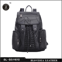 Durable Rainstone And Rivets Genuine Leather Black Girl's Classic Backpack