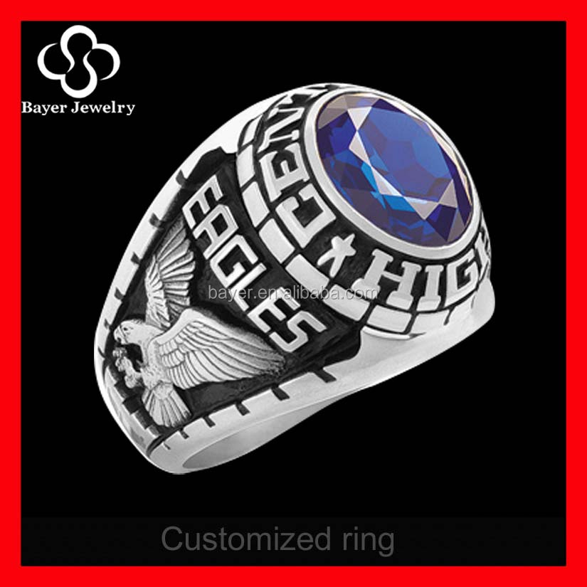 Graduation Gift Silver class Ring Jewelry with custom logo