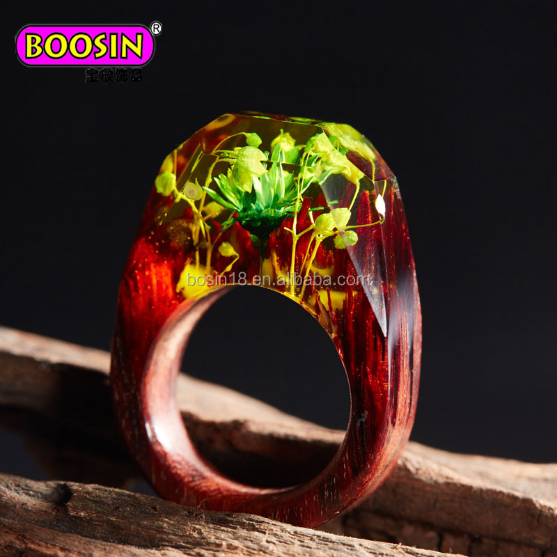 Guangzhou Boosin Unique Lead Colors Never Fade Natrual Fashion Wood Ring Jewelry