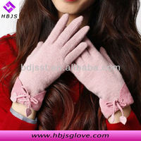2013 new arrival winter and autumn fashion warm women pink bowknot touch screen woolen leather gloves