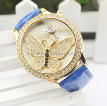 Genuine leather band diamond butterfly watch japan movement