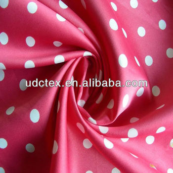 wholesale white dot print satin fabric
