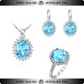 2016 Fashion Bule Gem Stone Jewelry Set Sterling Silver Earring Ring Necklace