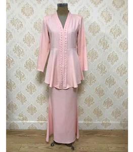 Muslim Lycra Plain Fashion Kebaya Baju Kurung Malaysia Peplum Baju Kurung Modern Satin