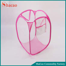 Pink foldable laundry basket mesh laundry bag with handle and pocket