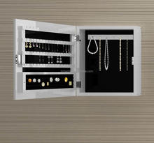 White Wood Wall Mounted Mirrored Multi-Storage Jewelry / Necklace Organizer Cabinet