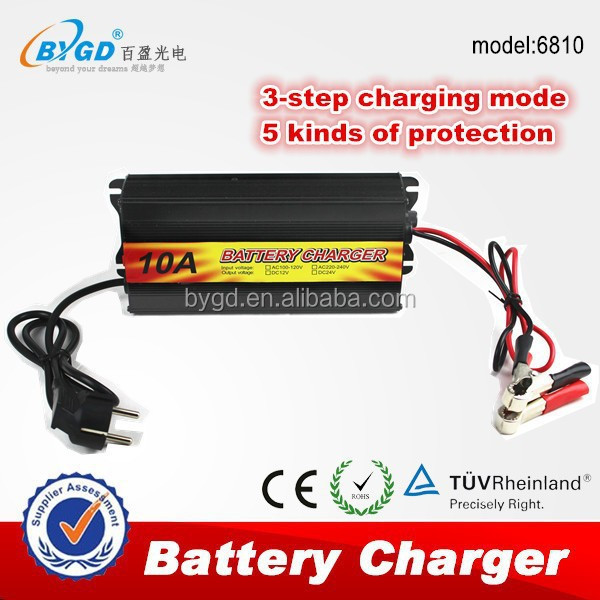 12v 10ah car battery charger with reverse connect protect