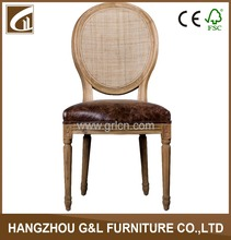 french style luxury leather louis solid wood restaurant chair