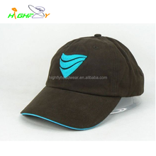 high quality 6 panel cotton twill custom embroidery curved brim unstructured baseball cap, sandwich between brims