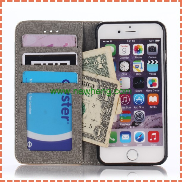 Hot Product Holder Stand PU Case for iPhone 6 6s,Credit Card Slot Wallet Leather PU Phone Case Cover for iPhone 6 6S