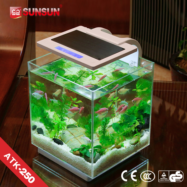 SUNSUN new patent nano view fish tank stainless steel fish tank with lights
