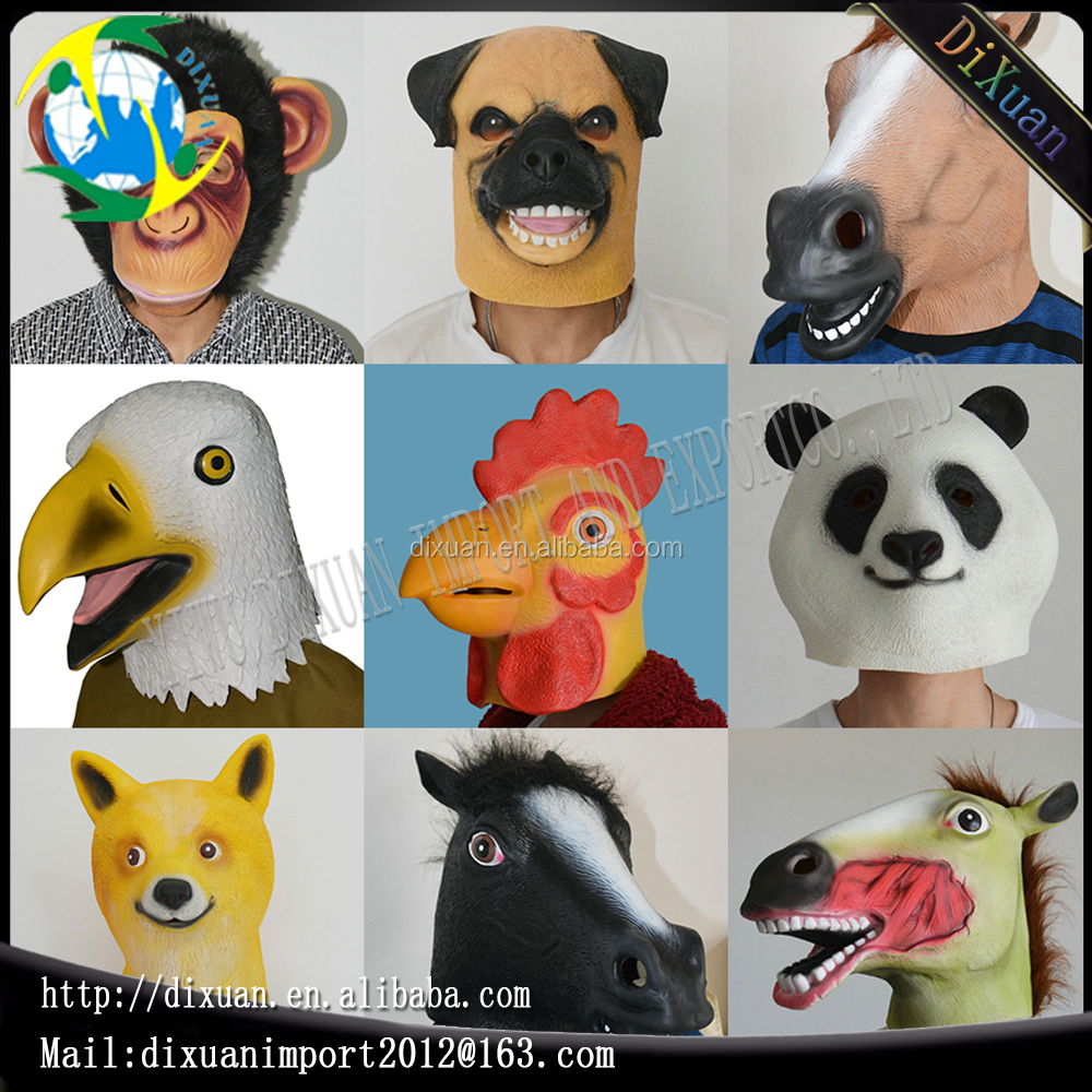 Factory custom Full face Horse Latex masks Halloween Animals Head Latex Mask