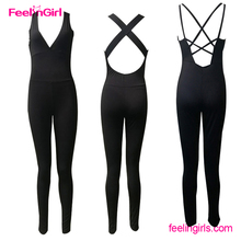 Womens Black Top Sexy Cross Backless Jumpsuit