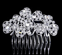 Shining Three Leaf Clover Crystal Bridal Hair Comb Hair Pin Wedding Hair Accessories