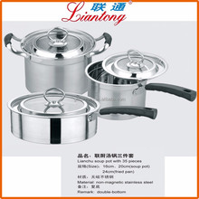 2017 NEW 3PCS double bottom non magnetic stainless steel kitchen cookware set, soup pot milk pot and fried pan in one set