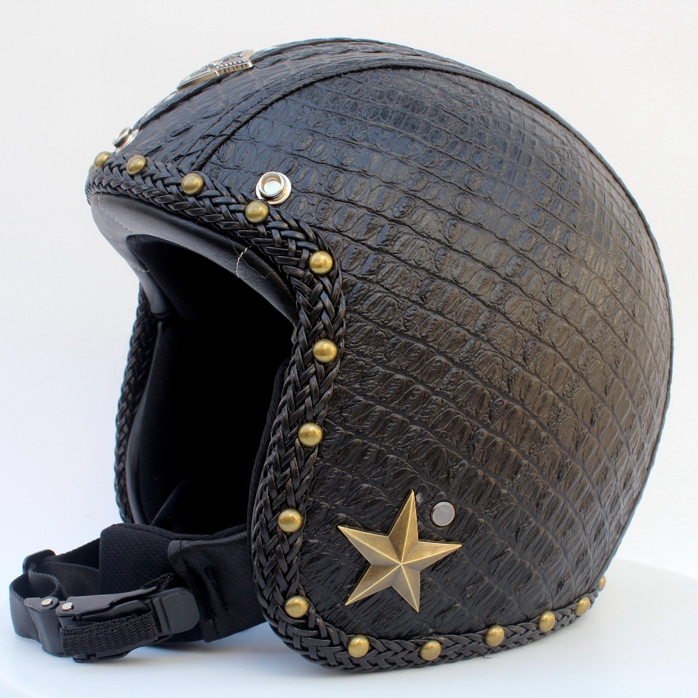 Leather Vintage Motorcycle Helmets Biker Cruiser Scooter Touring Helmet