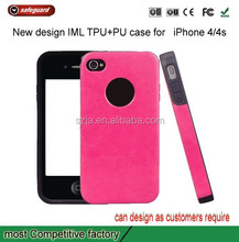 Full protect cover TPU +PU leather shield case for apple iphone4 4s