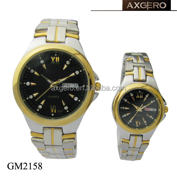 Pair stainless steel calendar quartz wrist watch