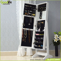 American online retail and wholesale guangdong wall mounted mirror jewelry cabinet