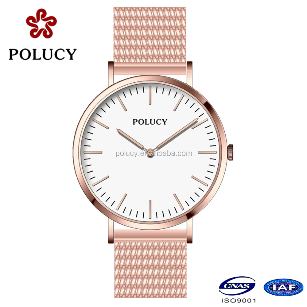 japan movt quartz watch stainless steel back watch mesh band