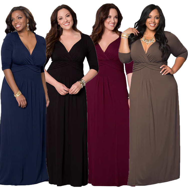 Ladies plus size pure color polyester spandex deep v neck maxi long dresses