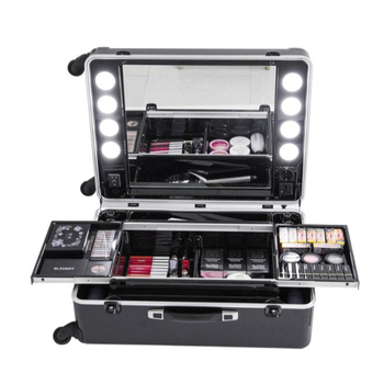 Moulding PC Shell Makeup Station Beauty Case Cosmetics Case with lights Makeup Trolley Bag