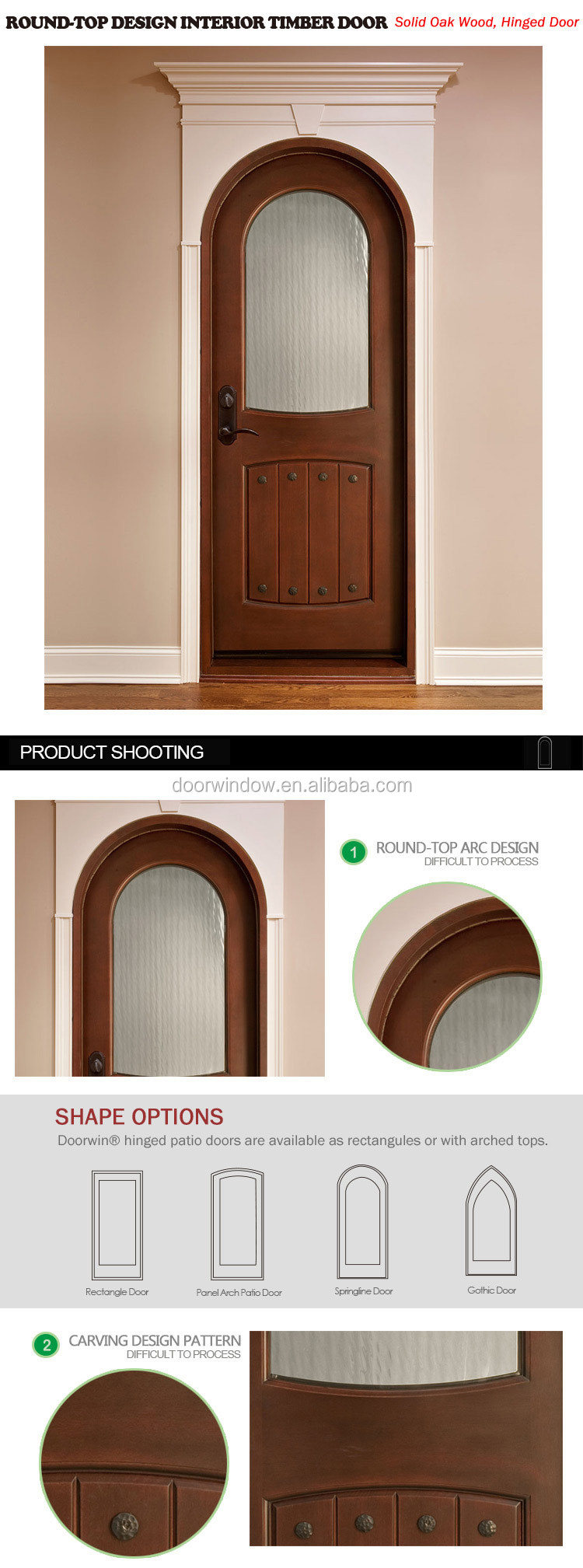 round arched top design glass insert Solid frosted Glass Interior Mahogany Wood entry Door