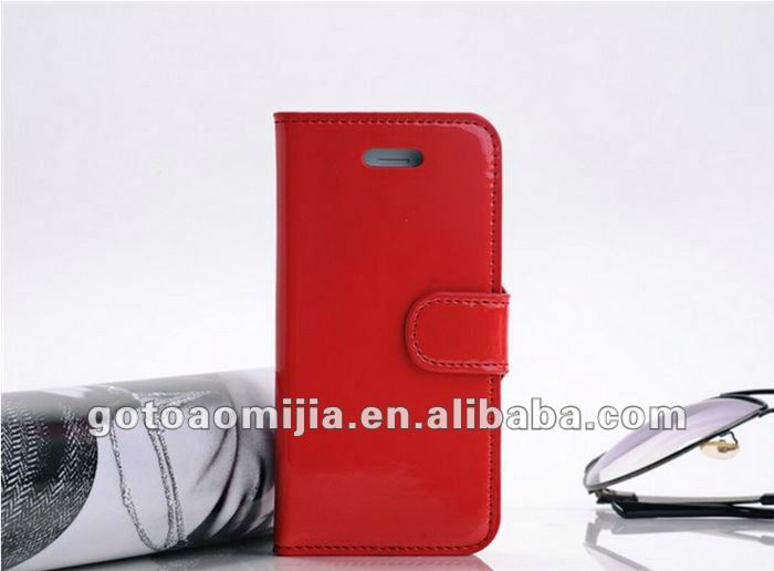 wallet style patent leather case for iphone5