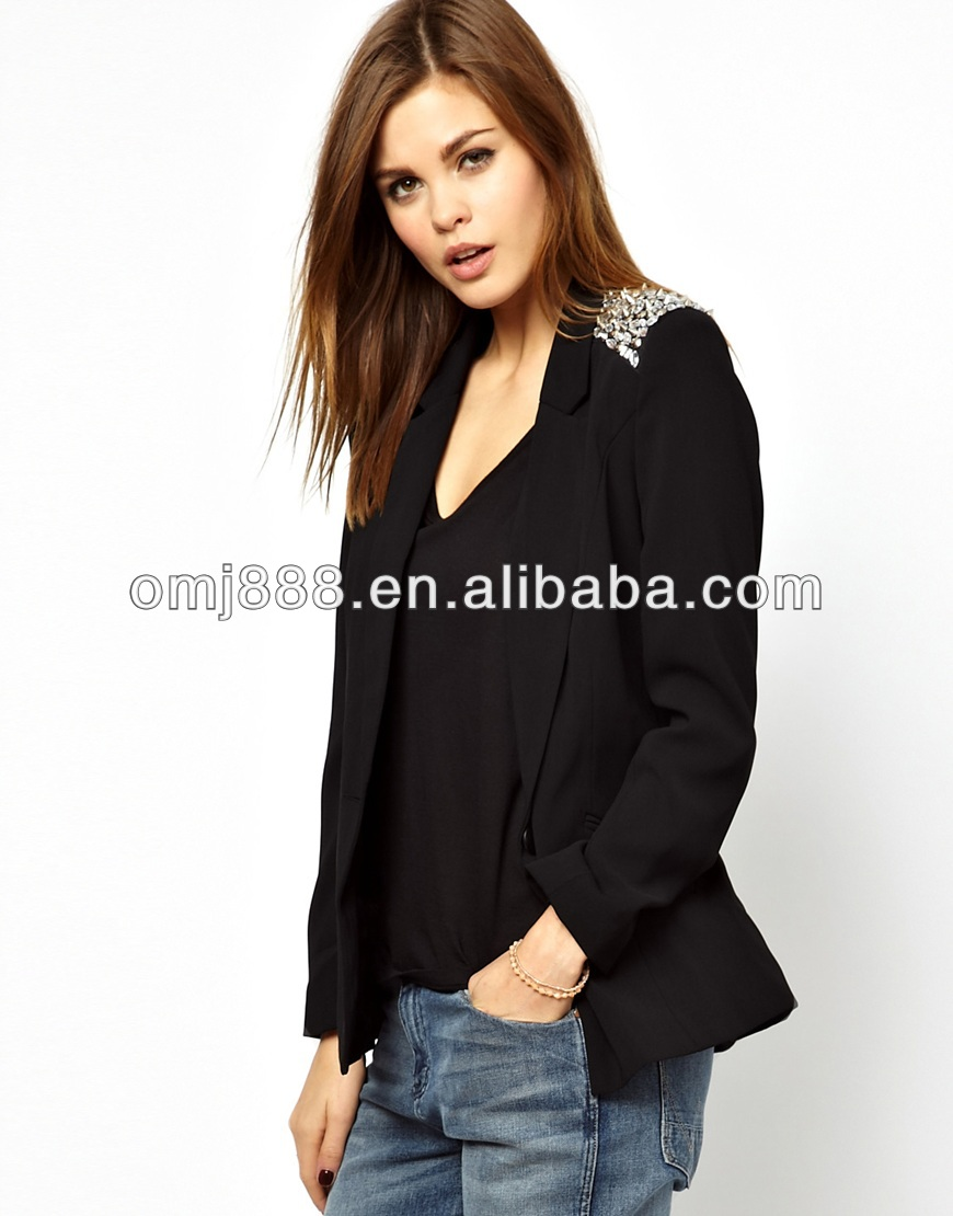 2013 latest design stud shoulder polyester jacket for autumn