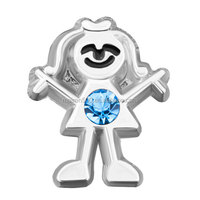 light blue birthstone floating charm (March)
