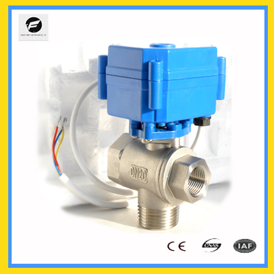 24v 3 Way Motorized motor operated ball valve for waste water