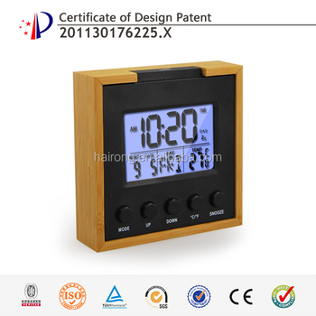 Hairong desktop natural mini digital wood carving clock