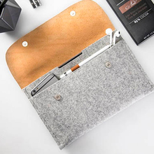 Wool felt pu leather laptop sleeve, apple pencil holder, laptop leather sleeve for 11.6 inch