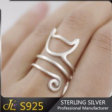 Top Fashion 925 sterling silver rings adjustable size cute lovely cat ring
